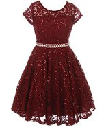 Big Girls' Short Sleeve Lace Glitter Skater Pearl Belt Special Occasion ... - $37.61