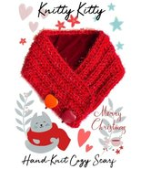Red Heart-Warming Woolen Cowl Hand-Knit Scarf With Stone Heart Pendants ... - $19.99