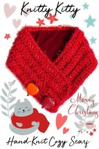 Red Heart-Warming Woolen Cowl Hand-Knit Scarf With Stone Heart Pendants ... - €18,47 EUR