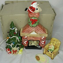 Dept 56 Fireplace Christmas Tree Cat Girl Retired Rare Japan 4 pc Set Vi... - $148.49