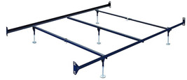 Queen Size Bolt-On Bed Frame Rails with Five adjustable glides and cross arms - $69.25
