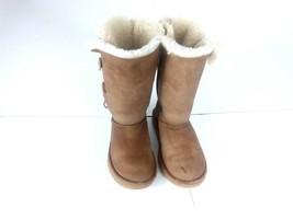 UGG Australia Bailey Button Triple Chestnut Girls Suede Sheepskin Snow B... - $29.52