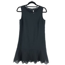 Loft Womens Size 2 Shift Dress Black Laser Cut Detail Flounce Hem Sleeve... - $23.36