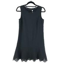 Loft Womens Size 2 Shift Dress Black Laser Cut Detail Flounce Hem Sleeve... - $23.36