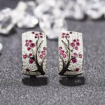 925 Silver Red Ruby Flower Plum Blossom Stud Dangle Earrings Women Jewel... - $6.00