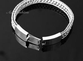 Mens Sterling Silver Bracelet Handcrafted Woven Belt Hip Hop Biker Beachwear b09 image 2