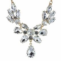 Clear Rhinestone Crystal Necklace Stud Earring Set Bridal Wedding Party - $12.73