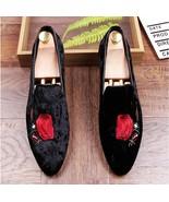 New 2019 Men's Fashion Black Velvet Embroidered Red Rose Slip on Loafers ! - $194.99