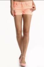 JALATE JEANS Low Rise Neon Orange Denim Cuffed Frayed Stretch Short Shor... - $13.99