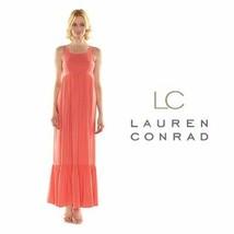 LC Lauren Conrad Womens Coral Maxi Dress Sleeveless Rayon Size 12 NWT - $36.62
