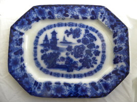 """Large Antique """"Rock"""" or """"Kirkee"""" Flow Blue Platter made by Wood, Meir Ch... - $164.99"""