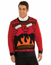 ~NEW~Ugly Christmas Party Sweater Red Brick Chimney Sweater With Stockings - $12.19