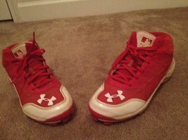 Under Armour Baseball Cleats Adult Sz 7.5 Red & White Sports Shoes - $73.80