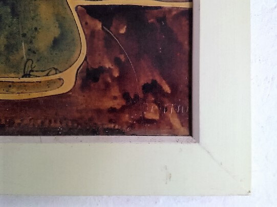Rare, Original & Signed Marriux Flower in Vase Still Life Mixed Media Lacquer Pa