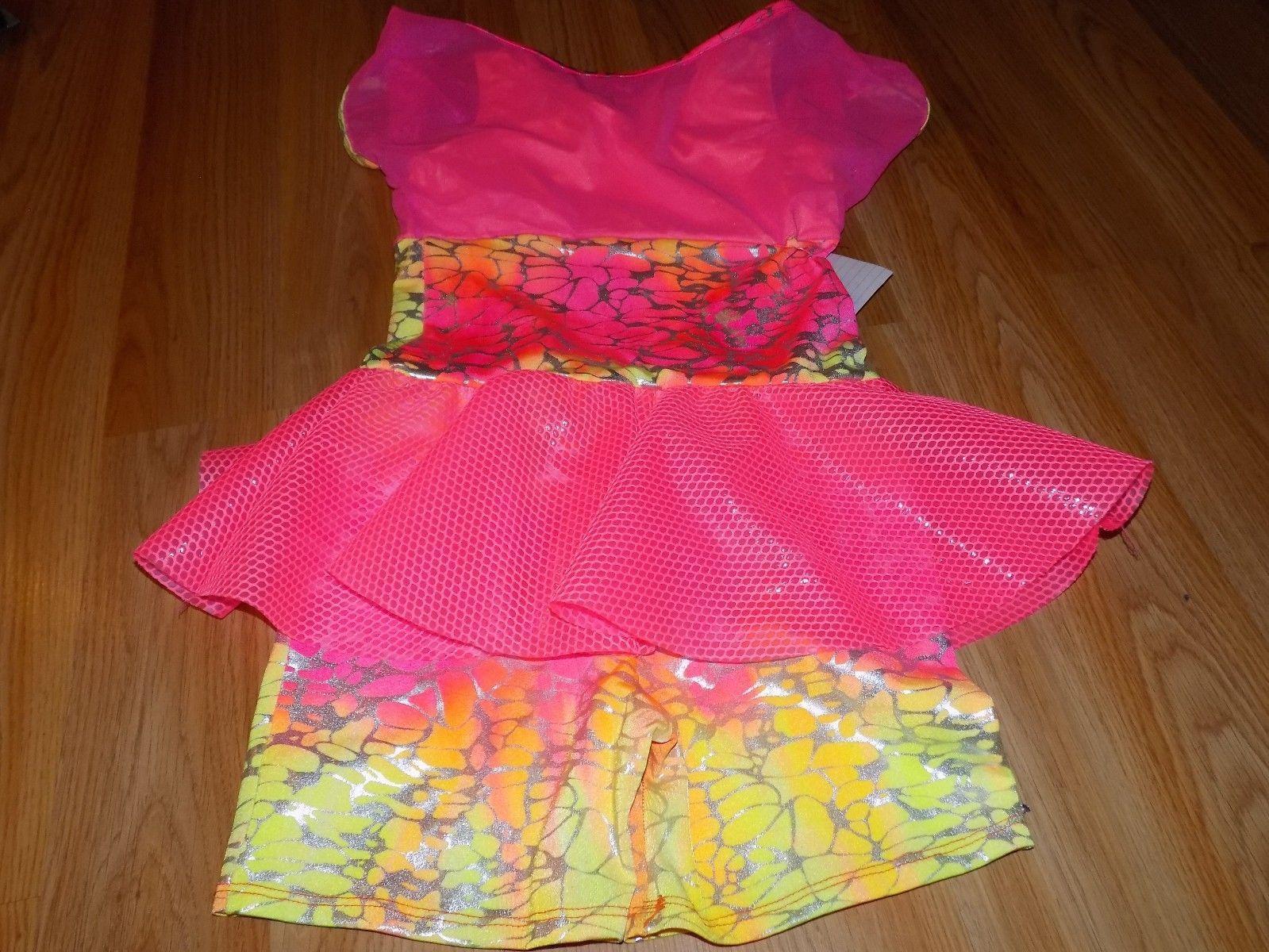 Child Size Large Dansco Dance Costume Unitard Leotard Neon Pink Orange Yellow