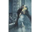 Couple kissing embrace lovers window Louis ICart Art Deco 5 x 7 photo print