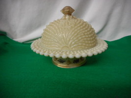 Northwood Decorated Custard Glass ARGONAUT SHELL Covered Butter Signed - $173.75