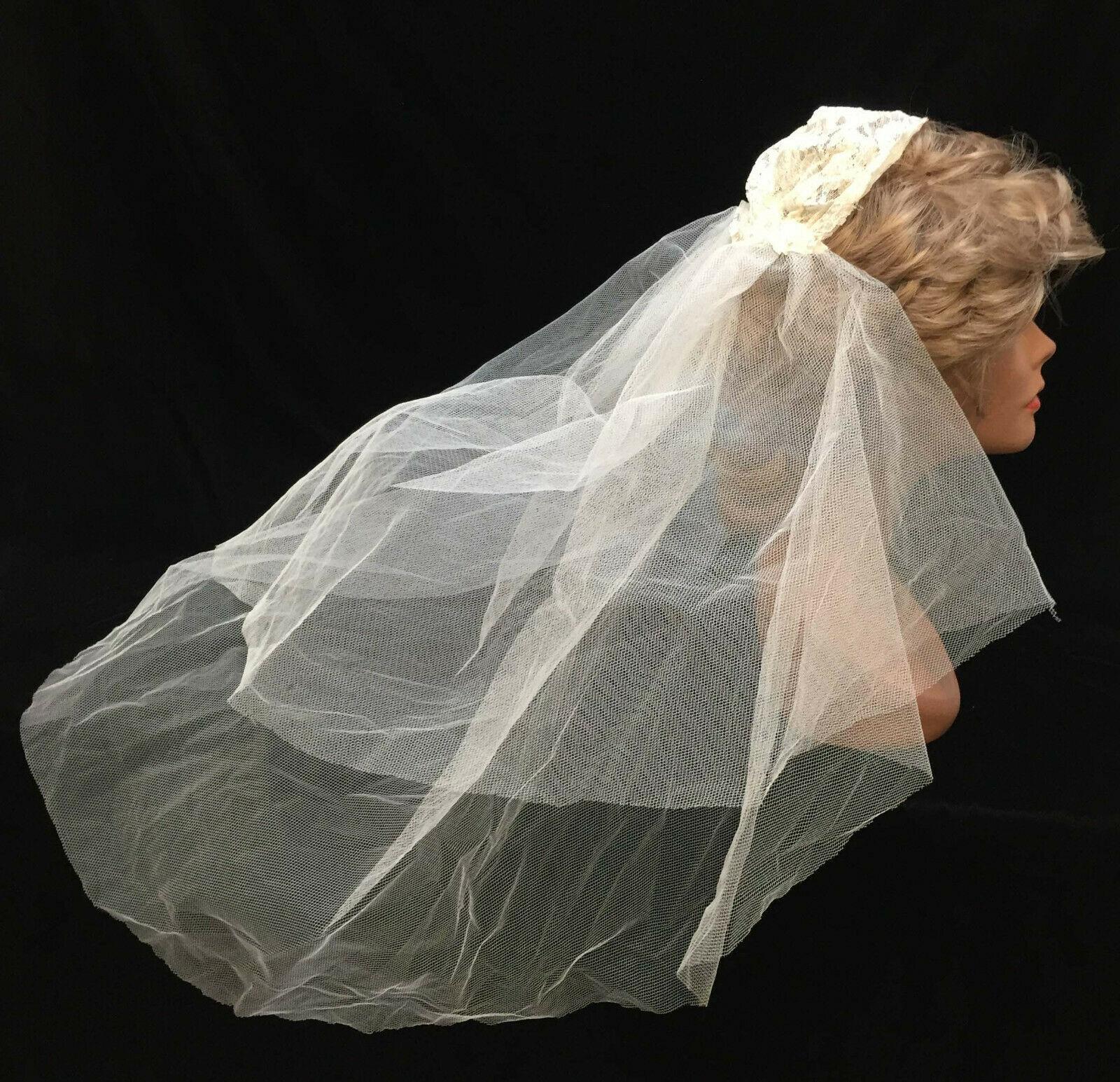 dbbabe77ce51 Wedding Veil Vintage Lace Cap Hair Piece Head Gossamer Mesh Net Gathered -  $34.64