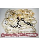 Vintage Sea Shell & Myrtlewood Necklace Lot of 6 C1342 - $27.91
