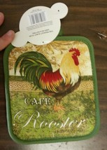 "Set of 2 Printed JUMBO Pot Holders, 7""x 8"", GREEN CAFE ROOSTER, green ba... - $7.91"