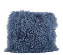 Fennco Styles Genuine Mongolian Lamb Fur Down Filled Decorative Throw Pi... - $108.88