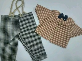 Homemade Doll Clothes-Awesome Plaid Pants bow tie Shirt homemade - $8.99