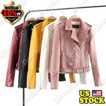 Trendy Women PU Leather Zipper Jacket Slim Biker Motorcycle Coat Punk Ou... - $86.40