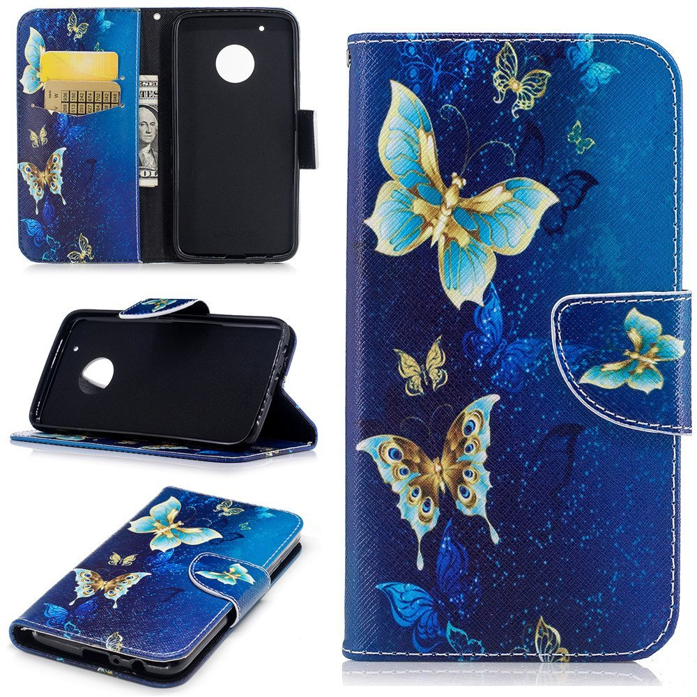 Moto G5 Plus case,XYX [Golden Butterfly][Double Sided Design] PU Leather Wallet