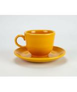 Homer Laughlin Fiesta Marigold Yellow Cup and Saucer Set, Loop Handle - $12.25