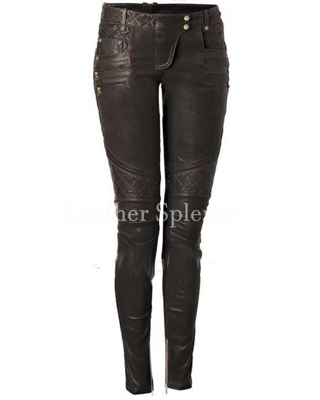 Biker Style Women Paneled Leather Pant