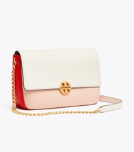 TORY BURCH CHELSEA COLOR-BLOCK CONVERTIBLE CHAIN SHOULDER BAG Pink/Ivory - $335.00