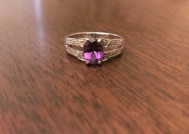 STERLING SILVER NATURAL GENUINE AMETHYST & DIAMOND ACCENT RING - SIZE 6 - $60.11