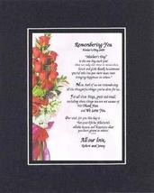 Personalized Touching and Heartfelt Poem for Mothers - Remembering You, Mother's - $22.72