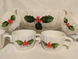 Vintage Inarco Christmas Punch Bowl Mugs Set White Holly Berry Mistletoe - $27.76