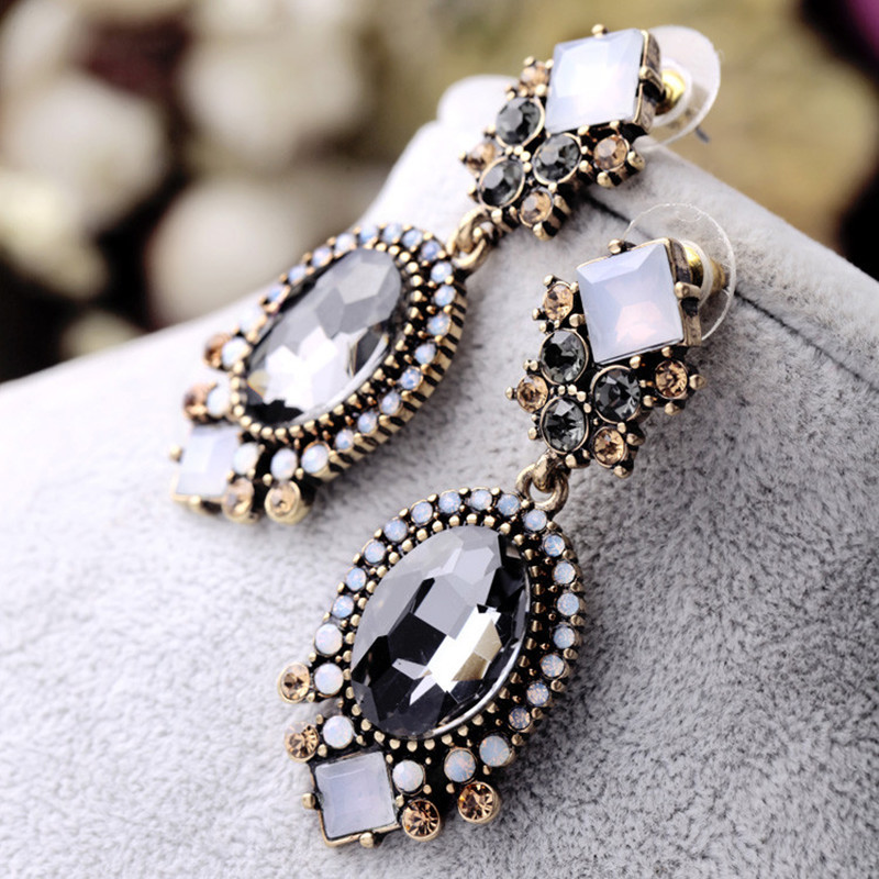 Primary image for Black Crystal Dangle Earrings For Women Wedding Party Bridal