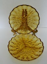Anchor Hocking Amber Fairfield Pattern Amber Divided Relish Trays Plates... - $16.71