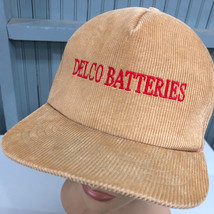 VTG Delco Batteries Tan Corduroy Snapback Baseball Cap Hat Made In USA - $19.00