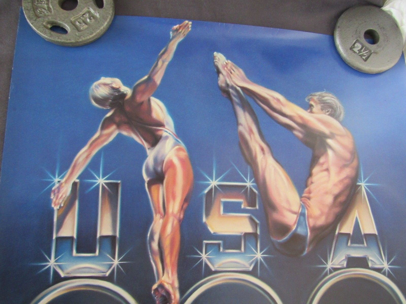 """1980's Olympics Swimming Diving Poster 25"""" Wide Sheila Wolk"""