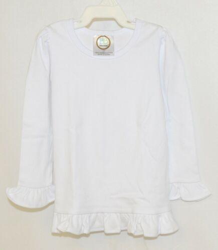 Blanks Boutique Girls White Long Sleeve Ruffle Tee Shirt Size 2T