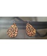 Faux Leather Dangle Earrings (new) SKULL & CROSSBONES #3 - $5.54