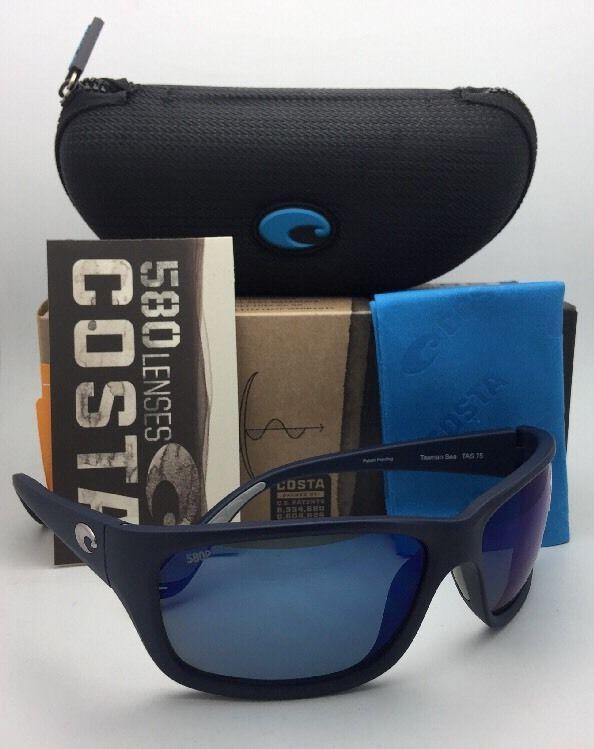 79e81d018ac Polarized COSTA Sunglasses TASMAN SEA TAS 75 Matte Blue Frame w Grey+Blue  Mirror
