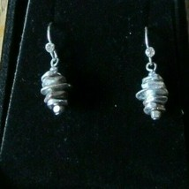Vintage Silver Tone Stacking Discs Tower Pierced Dangle Earrings - $13.55