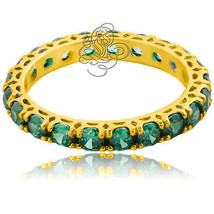 2.49CT Damen Fantastische Smaragd Ehering Jahrestag 14K Gold S7 - £71.18 GBP+