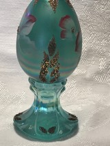 Fenton Glass Egg Hand Painted Iridized Robins Egg Blue Limited Edition image 2
