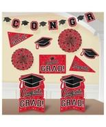 Red Black Congrats Grad 10 Pc Room Decorating Kit School Spirit Graduation - $15.83