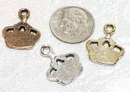 KING'S CROWN FINE PEWTER PENDANT CHARM - 15x18x2mm image 3