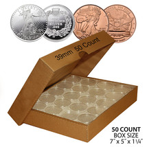 50 SILVER or COPPER ROUNDS Direct-Fit 39mm Coin Capsule Holder (QTY: 50)... - $18.66