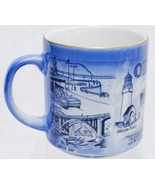 Vintage Oregon Souvenir Mug Points of Interest Blue and Gold Rim by IAAC - $12.32