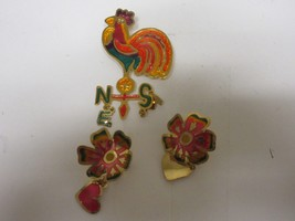 """Costume  Jewelry , Rooster Pin / Earrings  , 2 1/2"""" X 1""""    , Please See... - $19.80"""