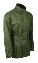 Mens Antique Biker Multi Pockets Motorcycle Wax Cotton Jacket Belted Coat image 3